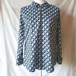 NWOT Michael Kors Blue Geometric Zipper Blouse